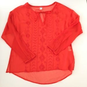 Old Navy Womens Orange Embroidered Blouse